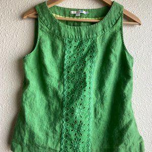 Boden Green Linen Sleeveless Shirt
